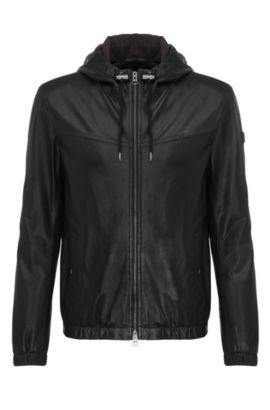 'Jainee' | Lambskin Perforated Hooded Blouson Jacket, Black