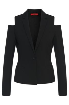 'Ankisa' | Stretch Cotton Blend Open Shoulder Jacket, Black