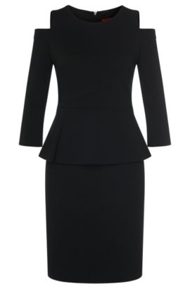 'Kepina' | Stretch Viscose Peplum Sheath Dress, Black