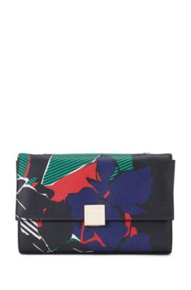 'Munich Flap FL' | Italian Calfskin Printed Handbag, Chain Strap, Black