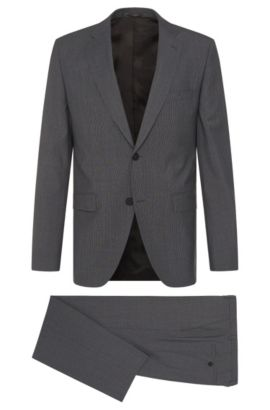 Italian Wool Traveler Suit, Regular Fit | Jets/Lenon, Dark Grey