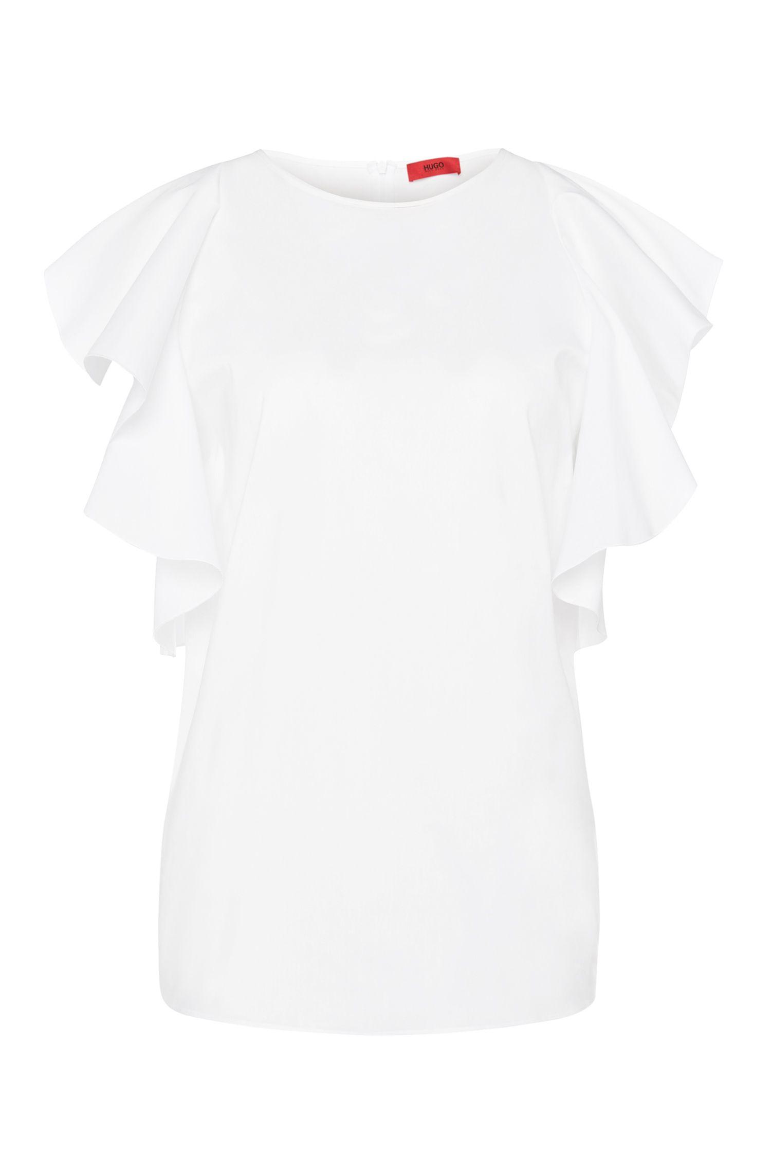 Cotton Blend Flutter Sleeve Blouse | Cullani