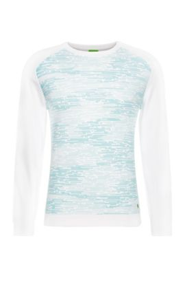 'Rager' | Stretch Cotton Blend Printed Sweatshirt, White