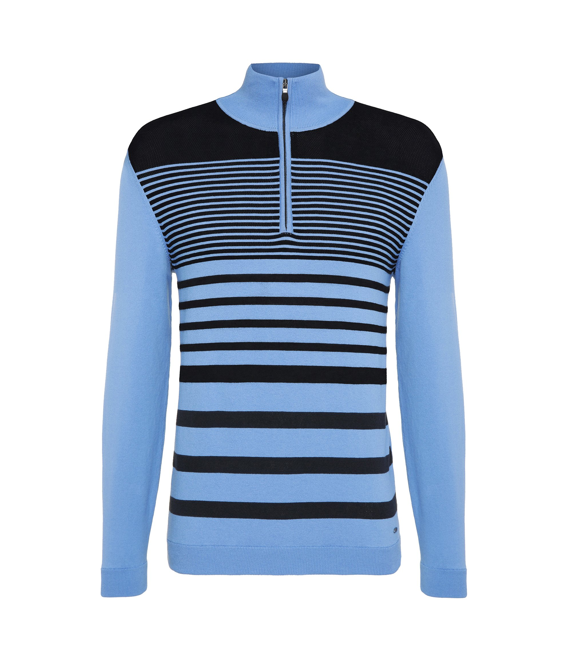Striped Stretch Cotton Half-Zip Sweater, Slim Fit | Zoco, Blue