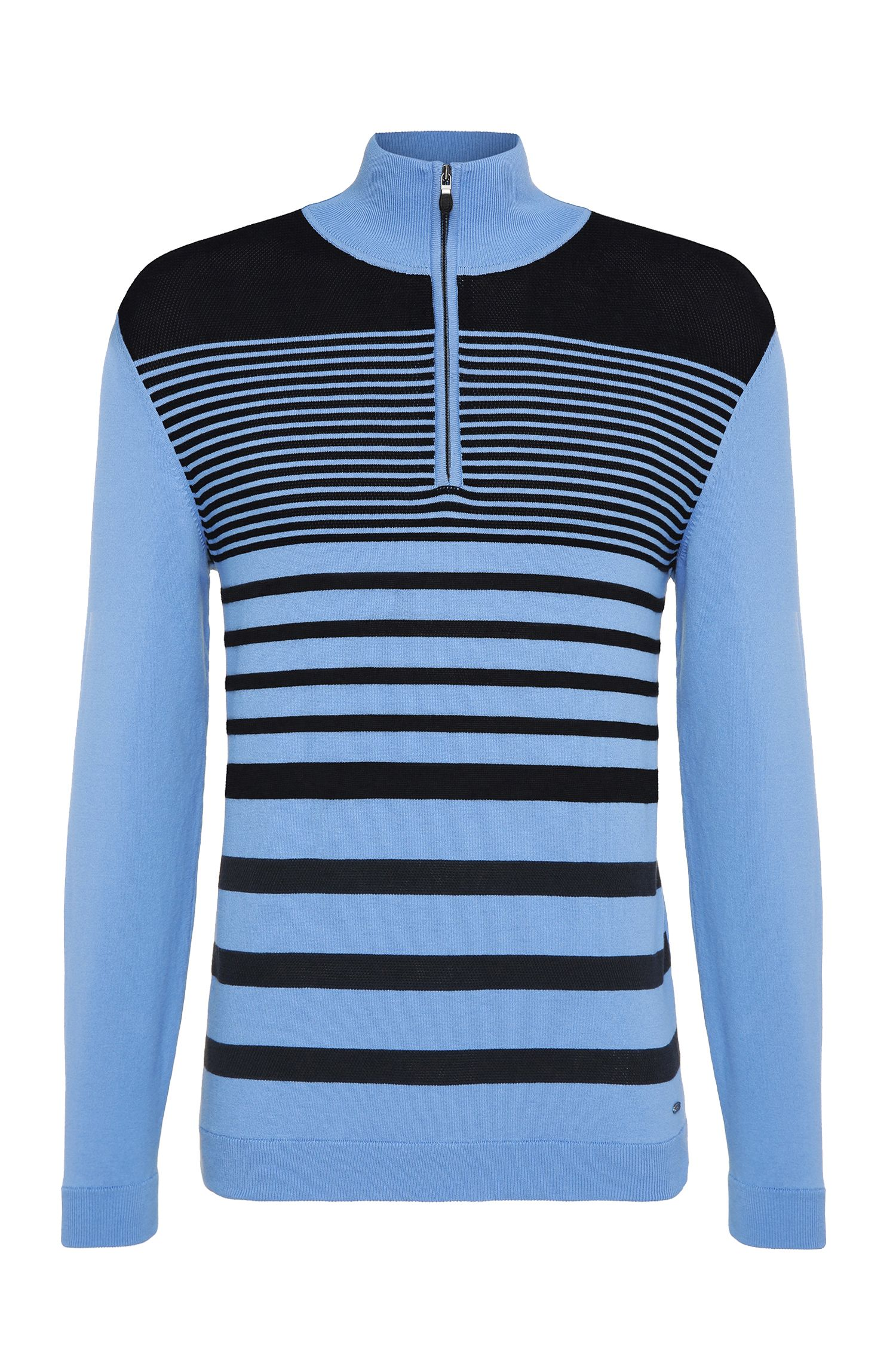 Striped Stretch Cotton Half-Zip Sweater, Slim Fit | Zoco
