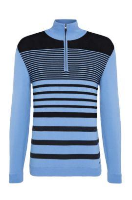 'Zoco' | Slim Fit, Striped Stretch Cotton Half-Zip Sweater, Blue