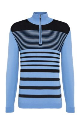 'Zoco' | Slim Fit, Striped Stretch Cotton Half-Zip Sweater, Blue