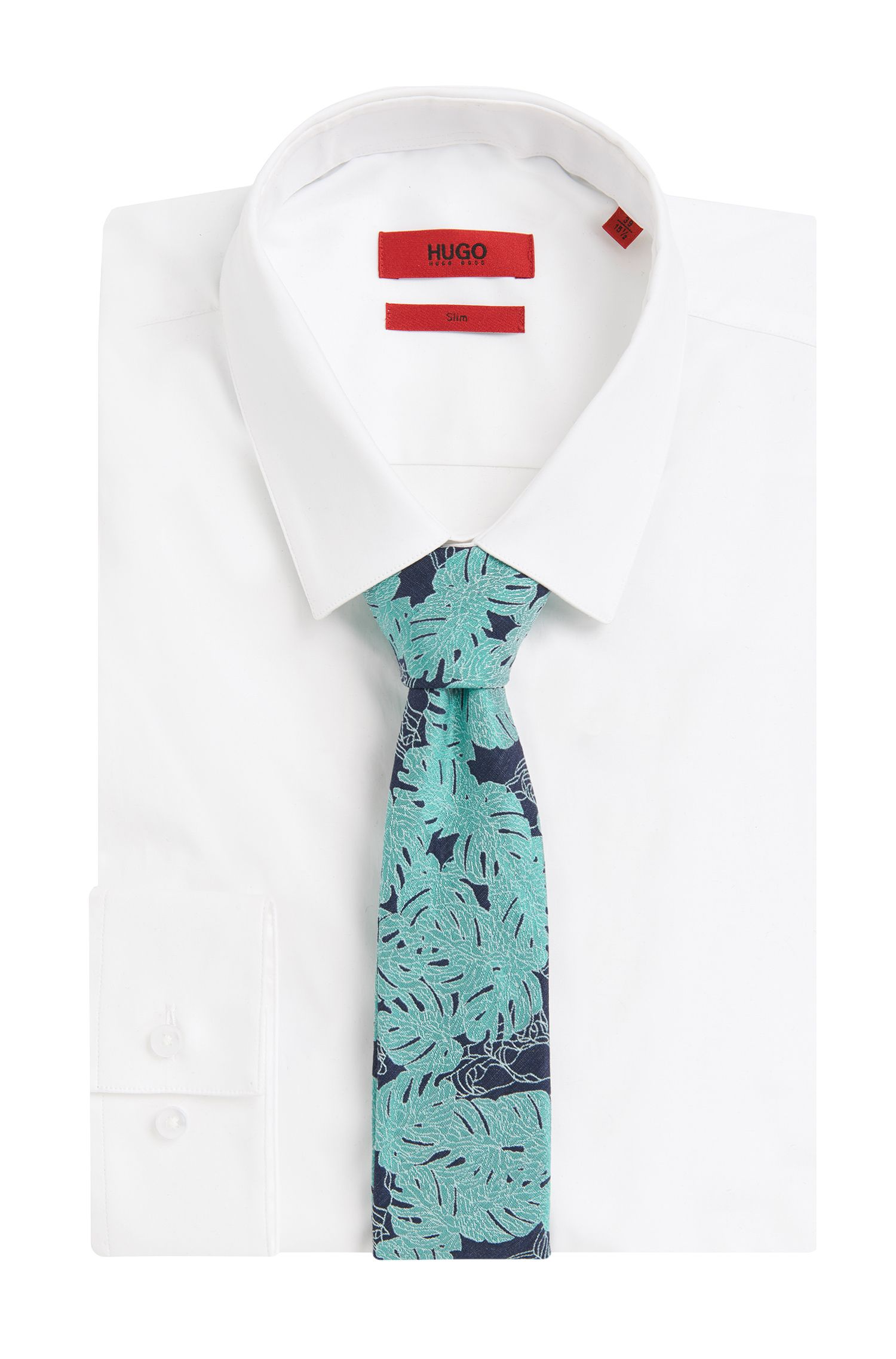 Patterned Silk Blend Slim Tie