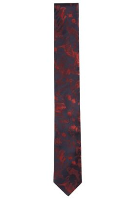 Printed Italian Silk Slim Tie, Red