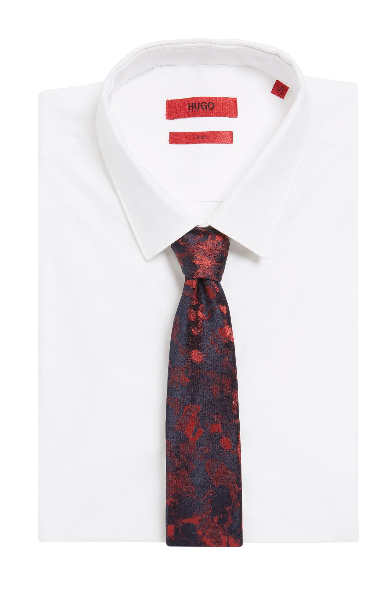 Printed Italian Silk Slim Tie, Red