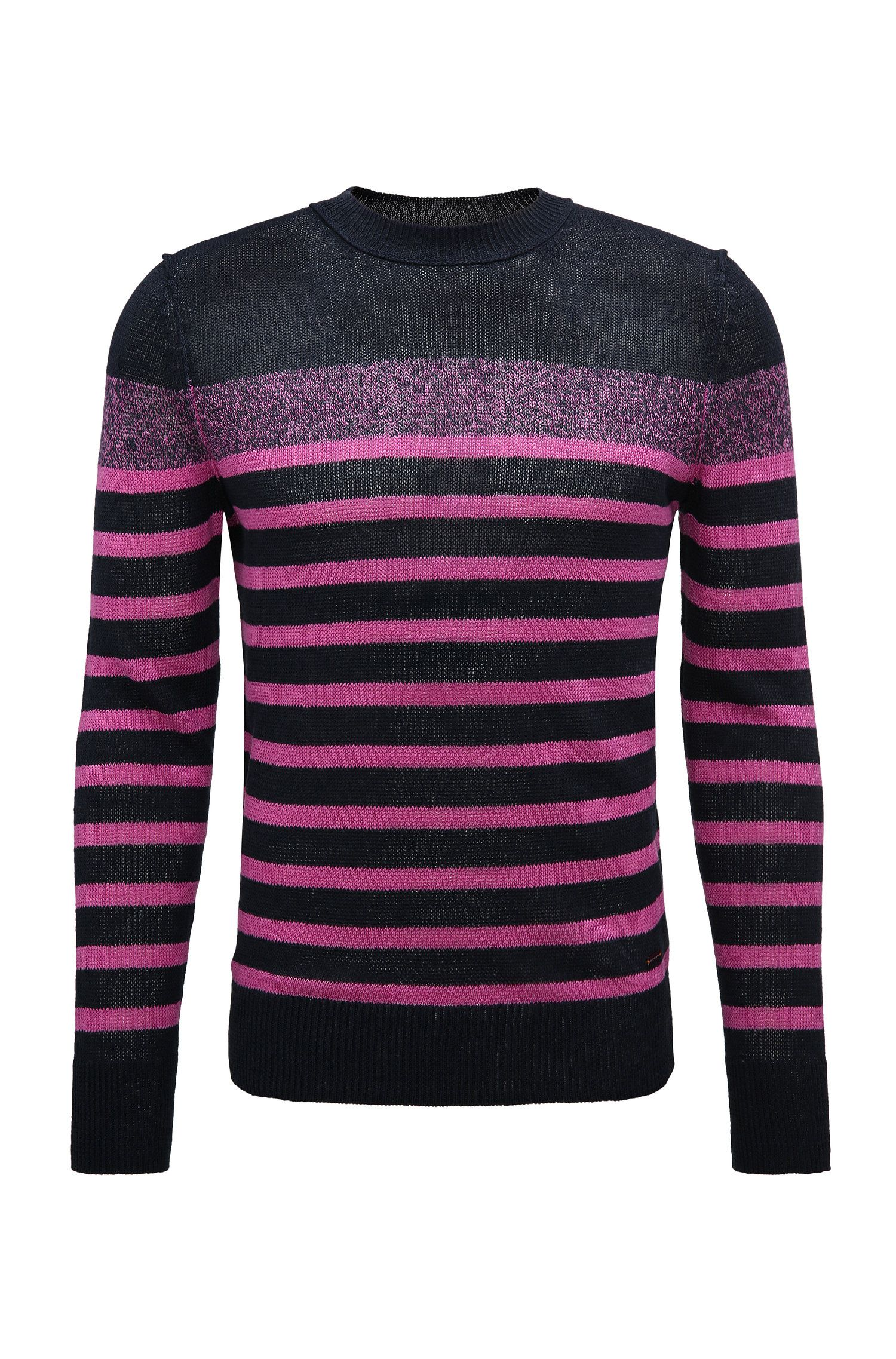 'Krew' | Striped Linen Sweater, Pink