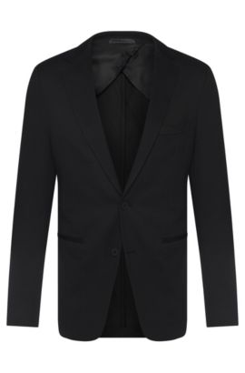 Cotton Blend Birdseye Sport Coat, Slim Fit | Norwin, Black