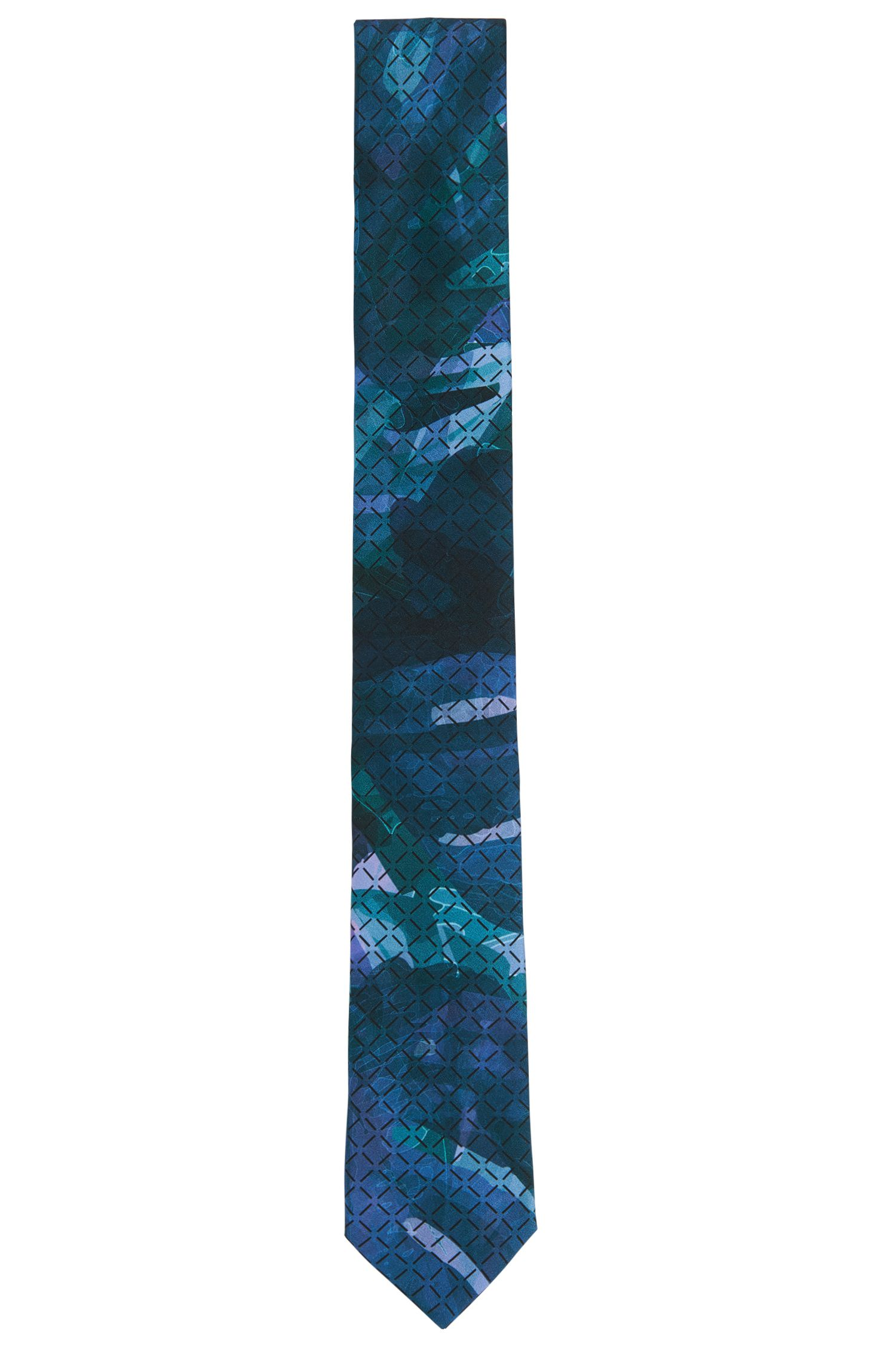 'Tie 6 cm' | Slim, Silk Embroidered Tie, Green
