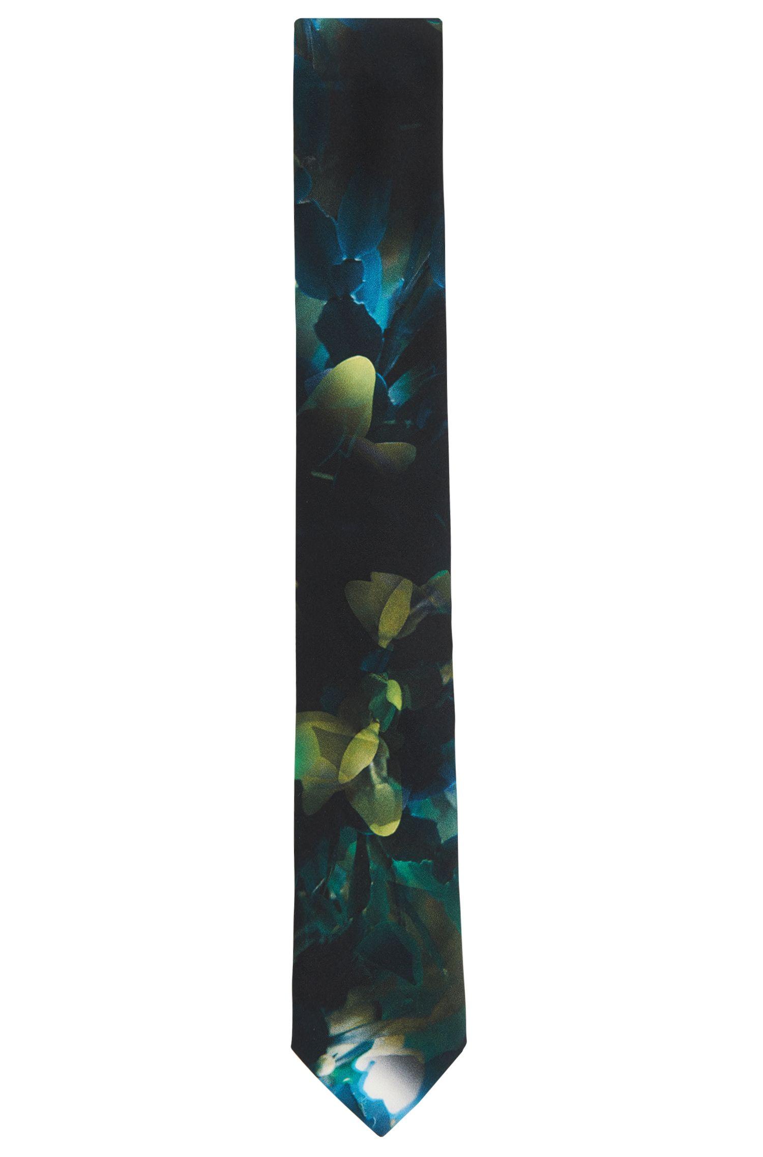 'Tie 6 cm' | Slim, Silk Embroidered Tie, Green