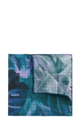 'Pocket sq. cm 33x33' | Silk Patterned Pocket Square, Green