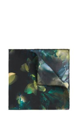Patterned Italian Silk Pocket Square, Green