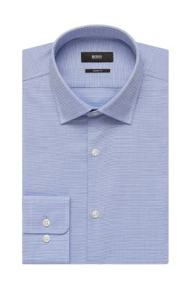 Geometric Cotton Dress Shirt, Sharp Fit | Marley US, Blue