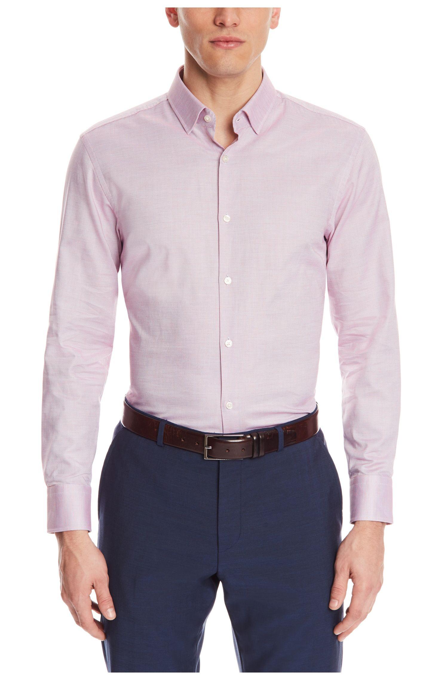 Geometric Cotton Dress Shirt, Sharp Fit | Marley US, Red