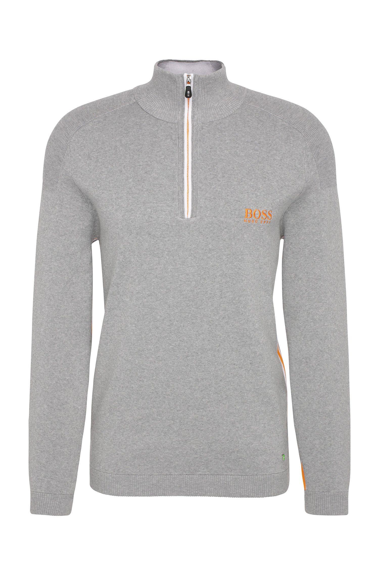 Stretch Cotton Water Repellent Troyer Sweater | Zayo MK SR17