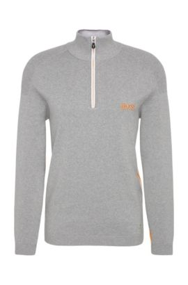 'Zayo MK SR17' | Stretch Cotton Water Repellent Troyer Sweater, Light Grey
