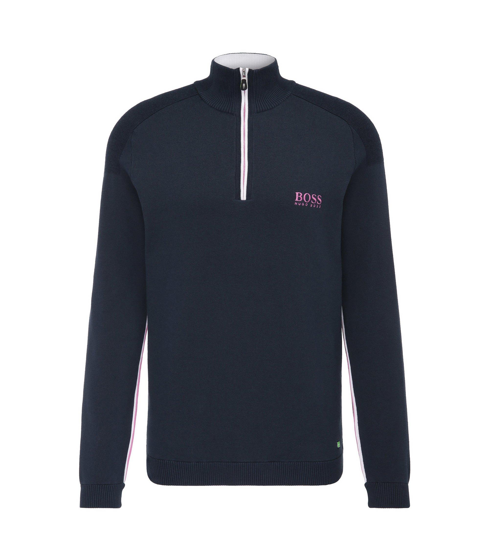 'Zayo MK SR17' | Stretch Cotton Water Repellent Troyer Sweater, Dark Blue