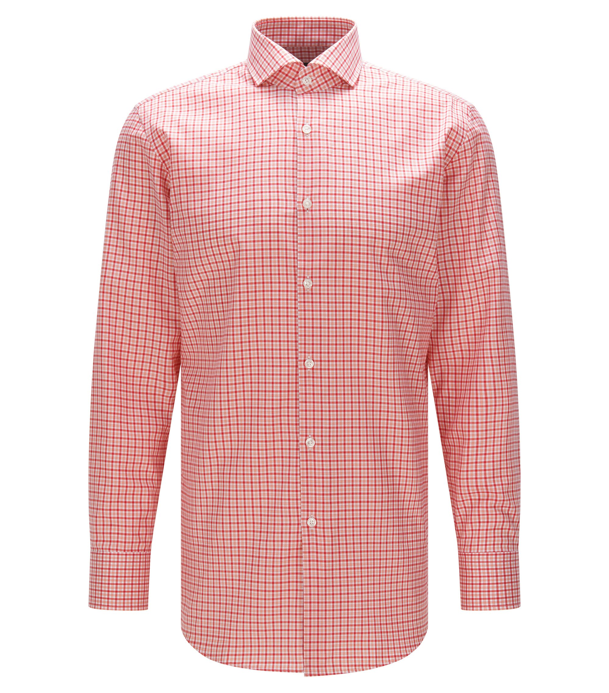 Plaid Cotton Dress Shirt, Sharp Fit | Mark US, Red