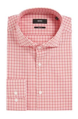 Plaid Cotton Dress Shirt, Sharp Fit | Mark US  , Red