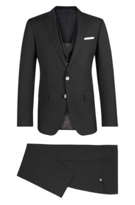 Virgin Wool Silk 3-Piece Suit, Slim Fit | Hutson/Gander, Black
