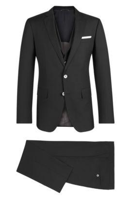 Virgin Wool Silk 3-Piece Suit, Slim Fit | Hutson/Gander, Black