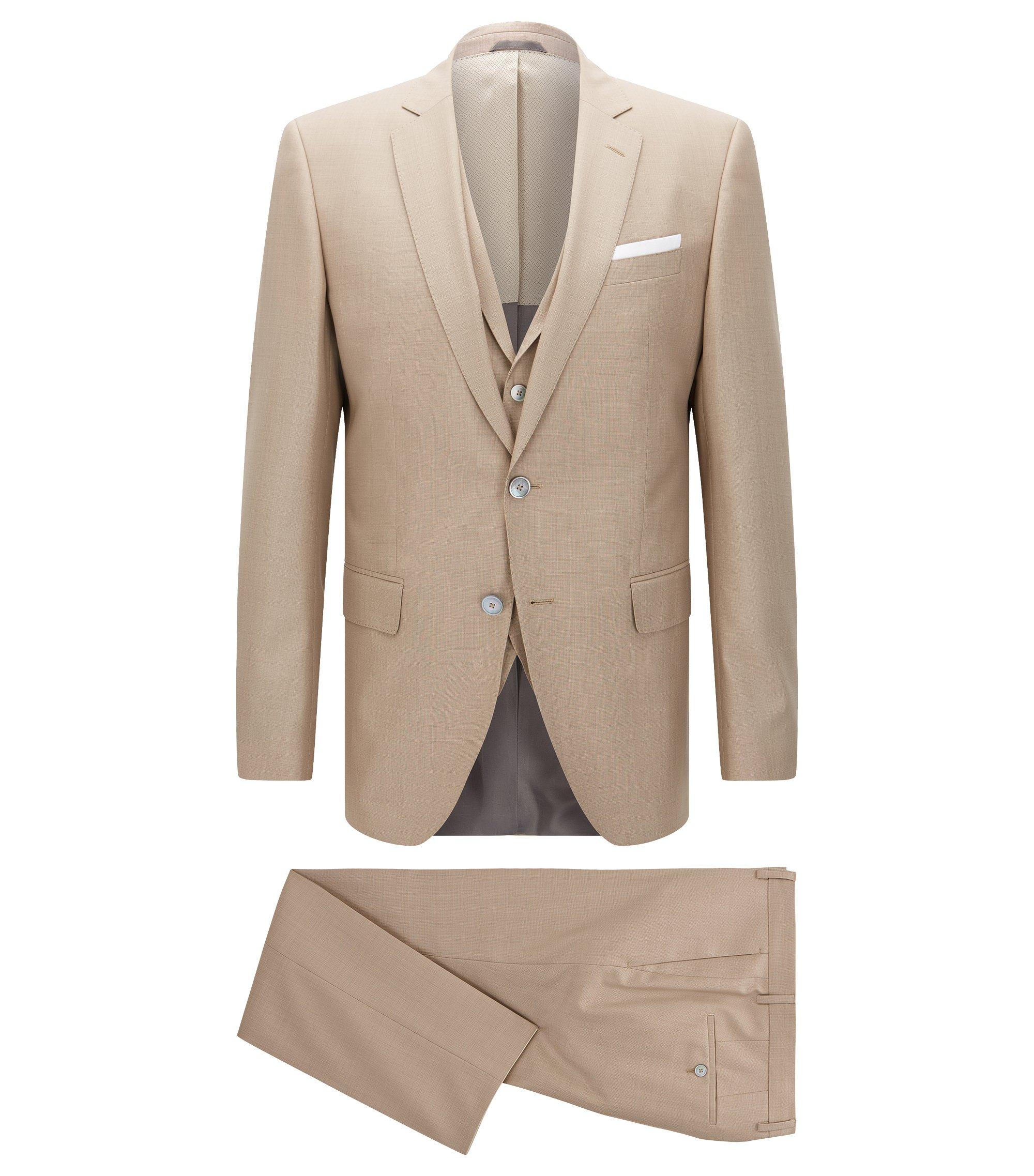 Virgin Wool Silk 3-Piece Suit, Slim Fit | Hutson/Gander, Open Beige