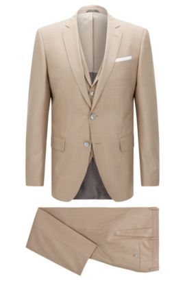 Virgin Wool Silk 3-Piece Suit, Slim Fit | Hutson/Gander, Open Beige