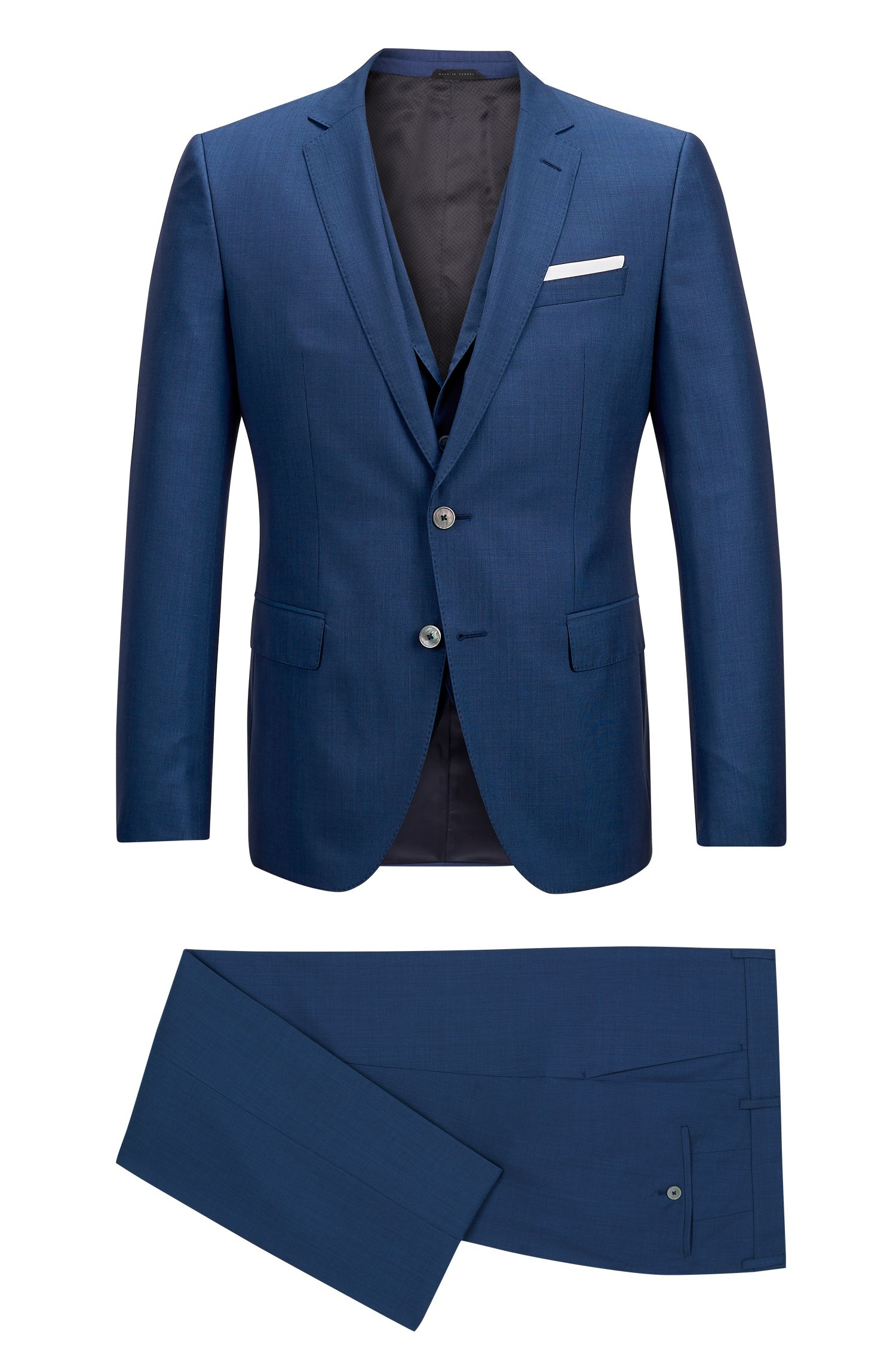 Virgin Wool Silk 3-Piece Suit, Slim Fit | Hutson/Gander