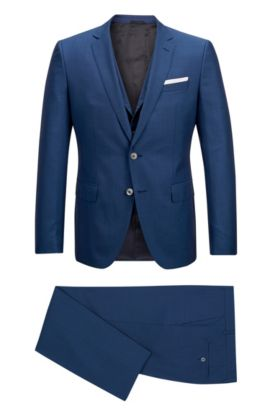 Virgin Wool Silk 3-Piece Suit, Slim Fit | Hutson/Gander, Blue