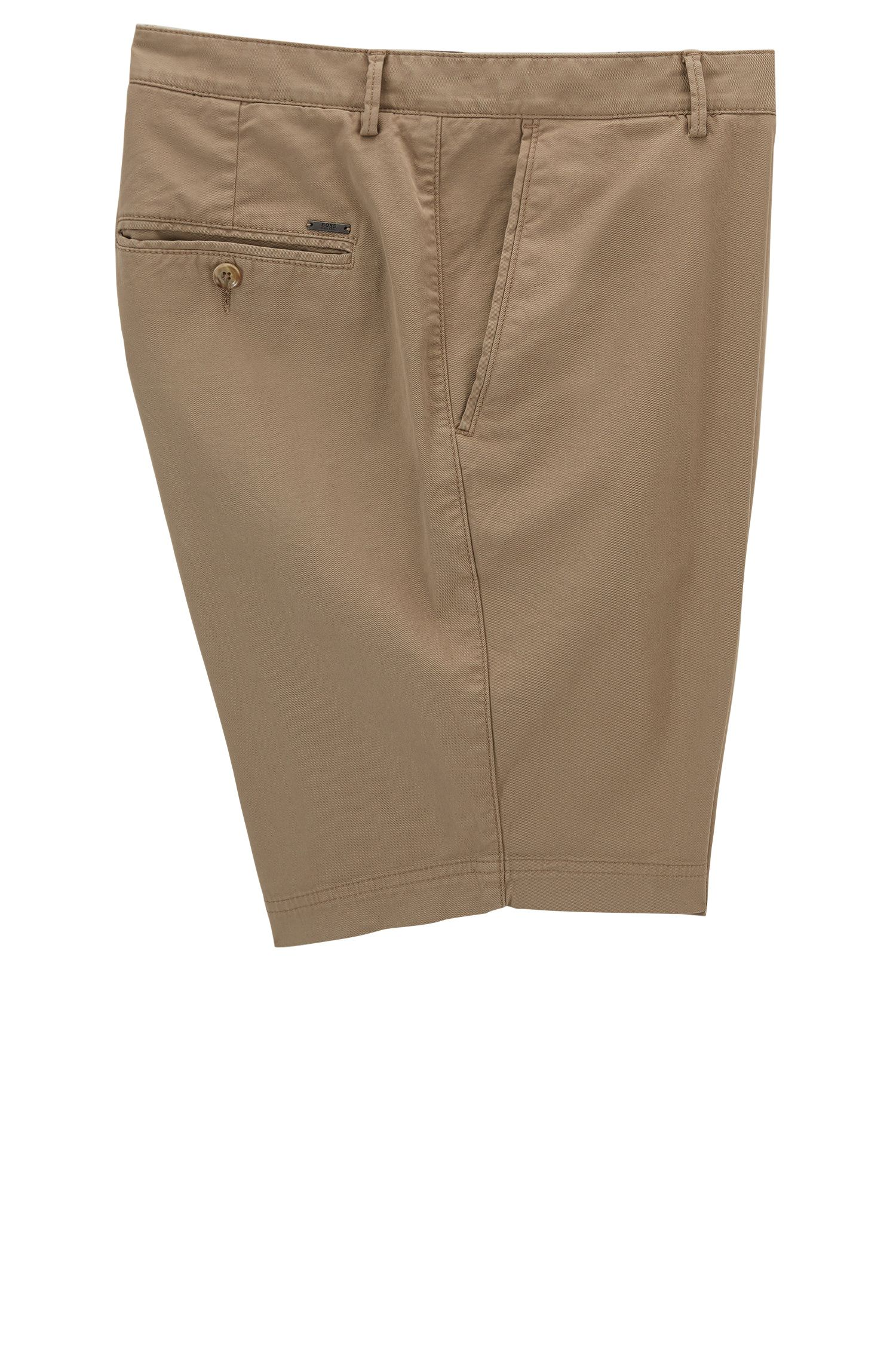 Stretch Cotton Gabardine Short, Regular Fit | Crigan Short D, Beige