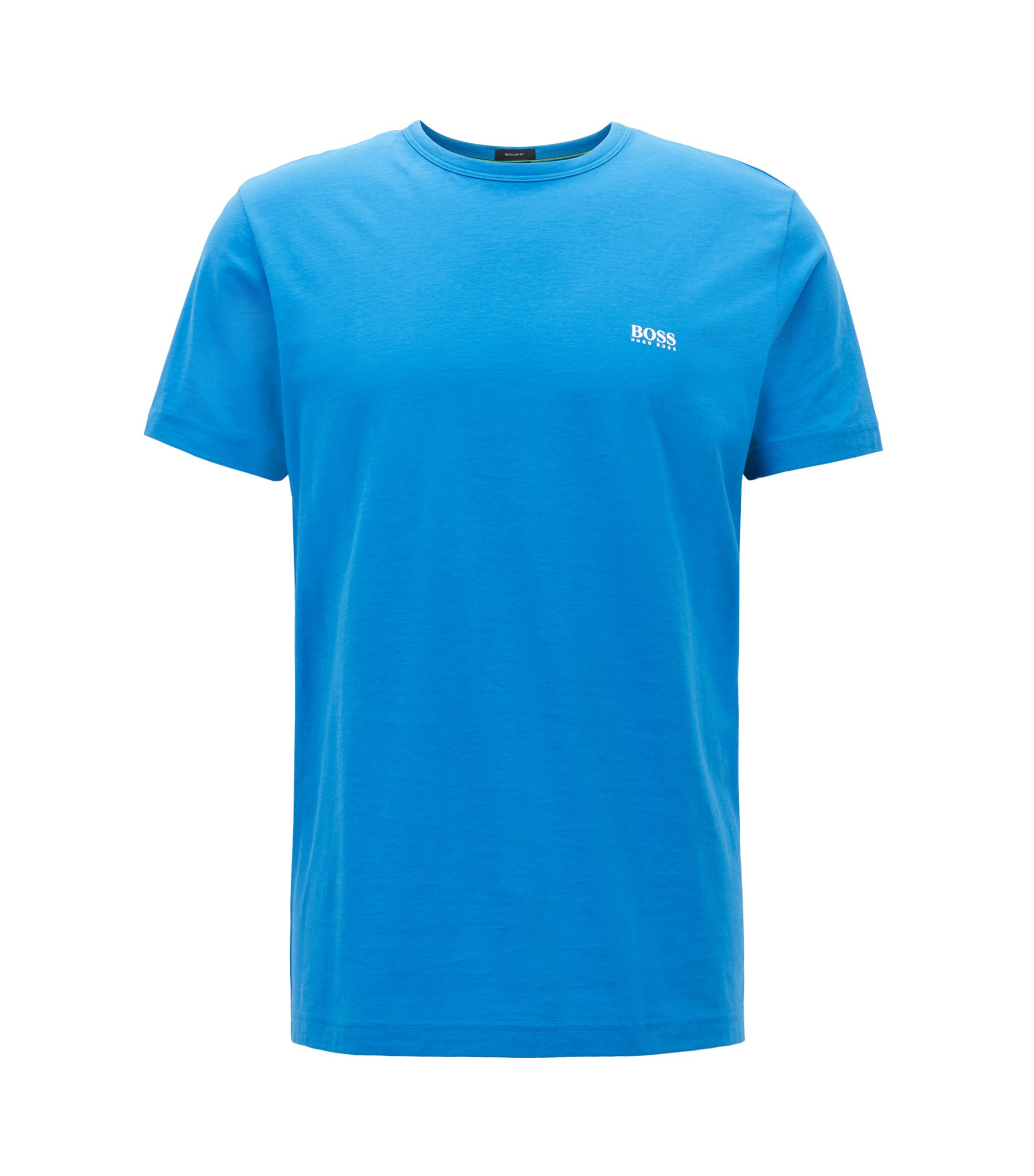 Regular-fit T-shirt in single jersey, Blue