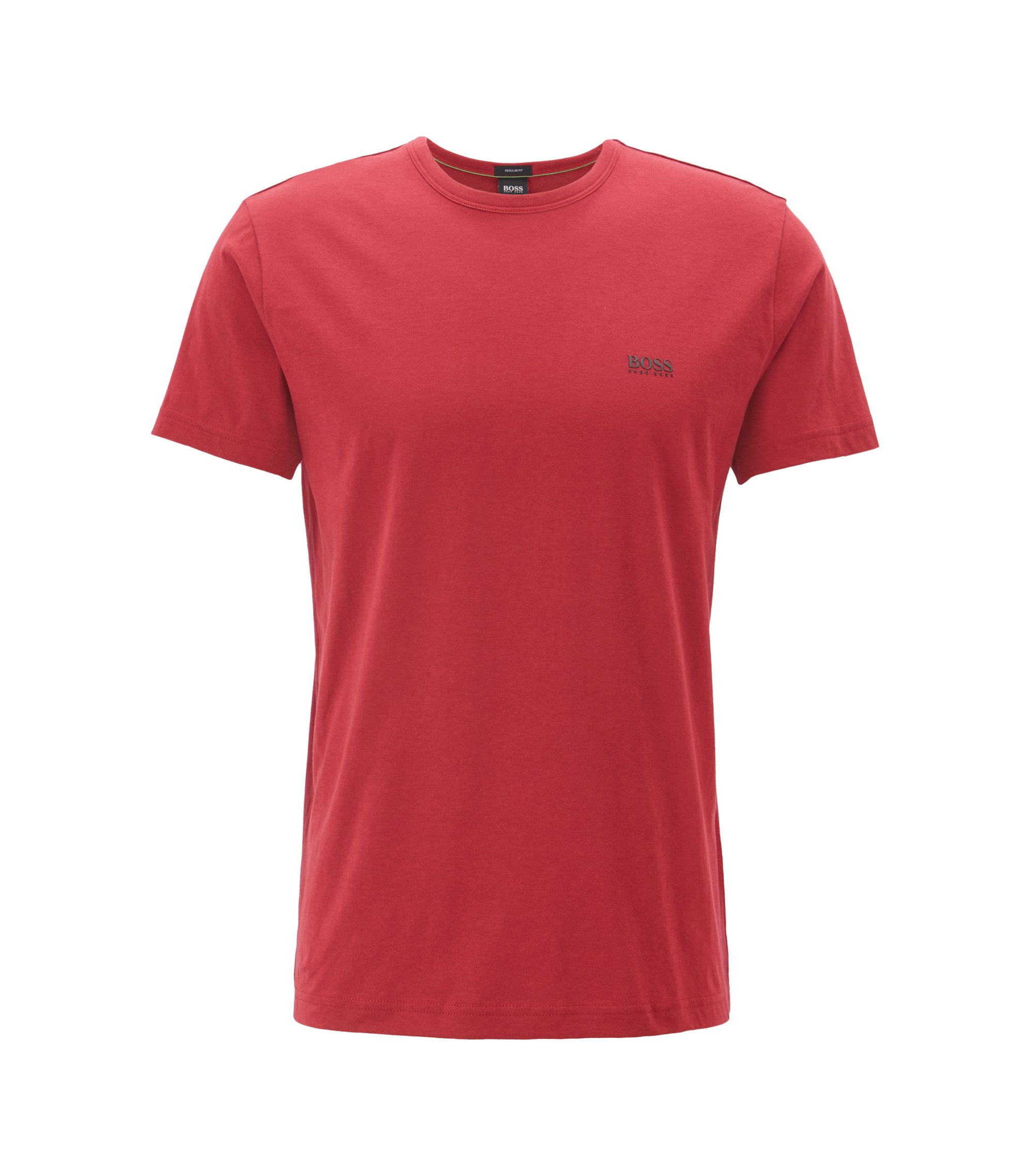 Regular-fit T-shirt in single jersey, Dark Red