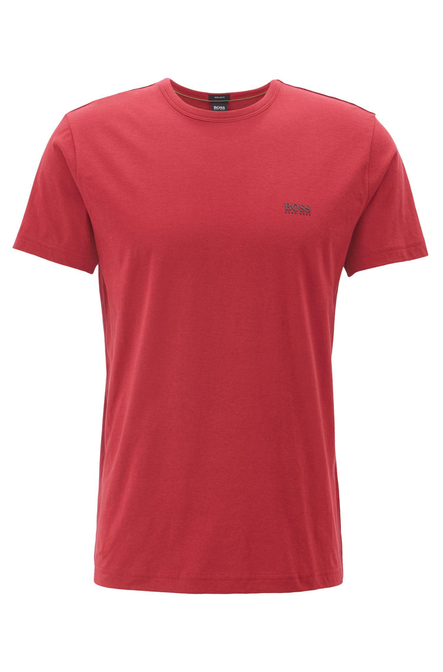 Regular-fit T-shirt in single jersey, Dark Red