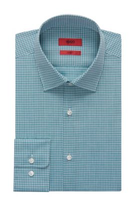 Checked Dress Shirt, Sharp Fit | C-Mabel, Green