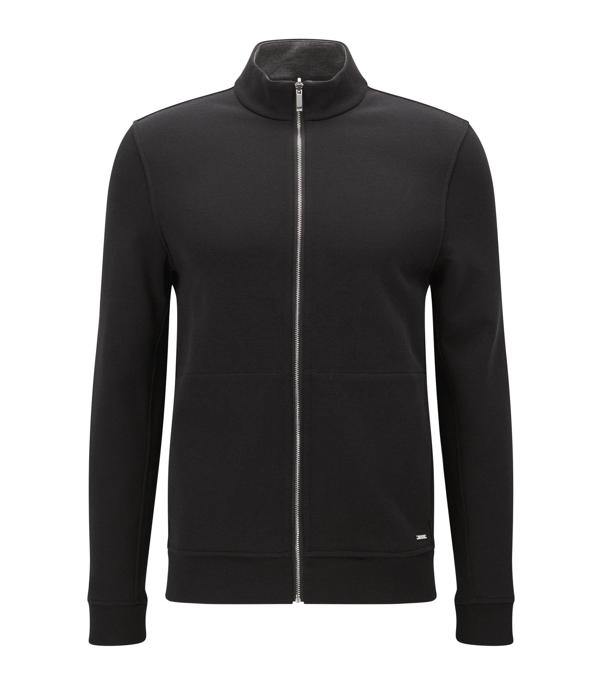 'Scavo' | Cotton Blend Full-Zip Sweater, Black