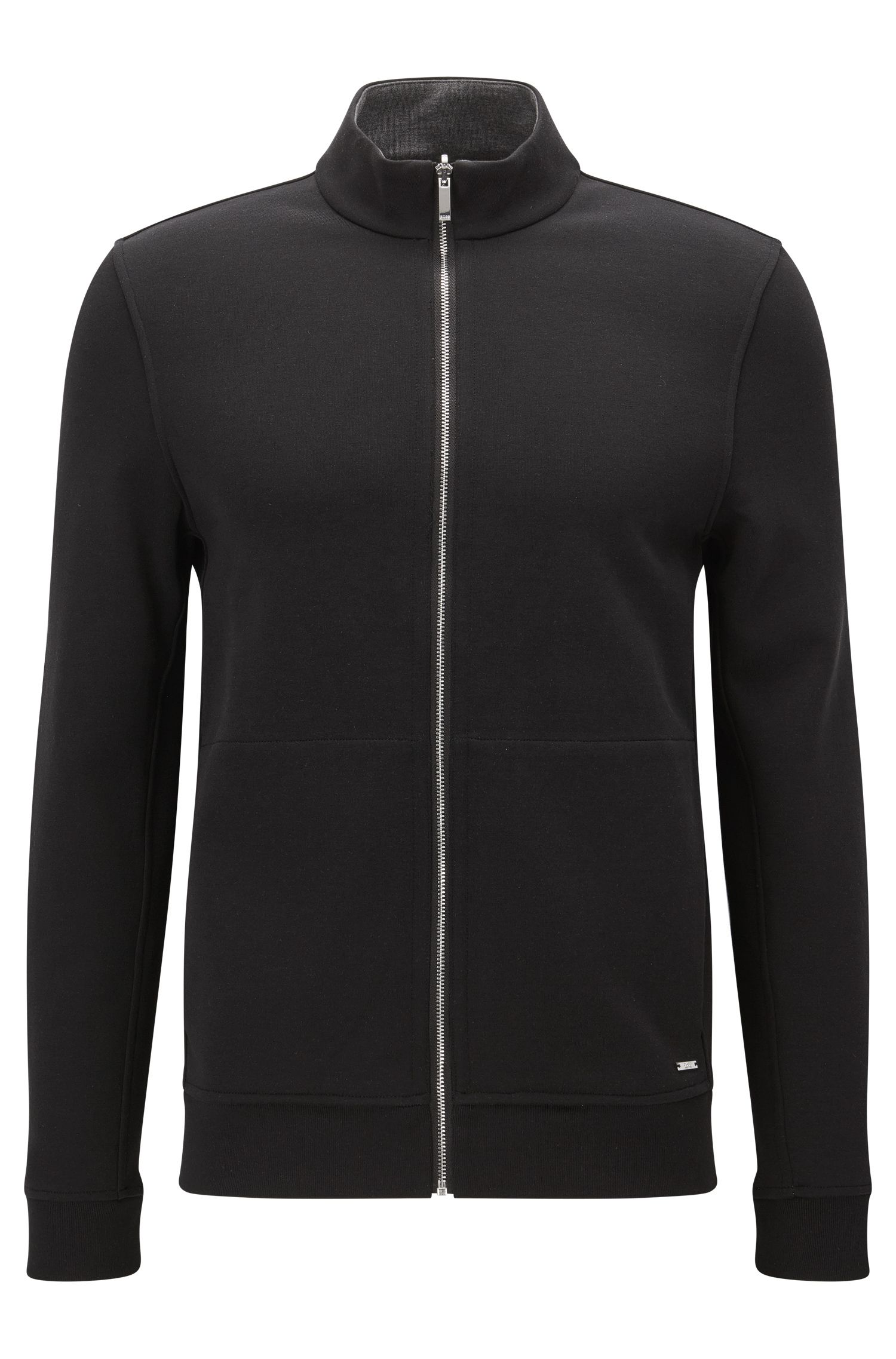 'Scavo'   Cotton Blend Full-Zip Sweater, Black
