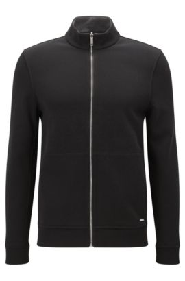 'Scavo' | Cotton Blend Full-Zip Sweater, Black