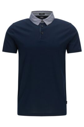 'Place' | Slim Fit Cotton Polo Shirt, Dark Blue