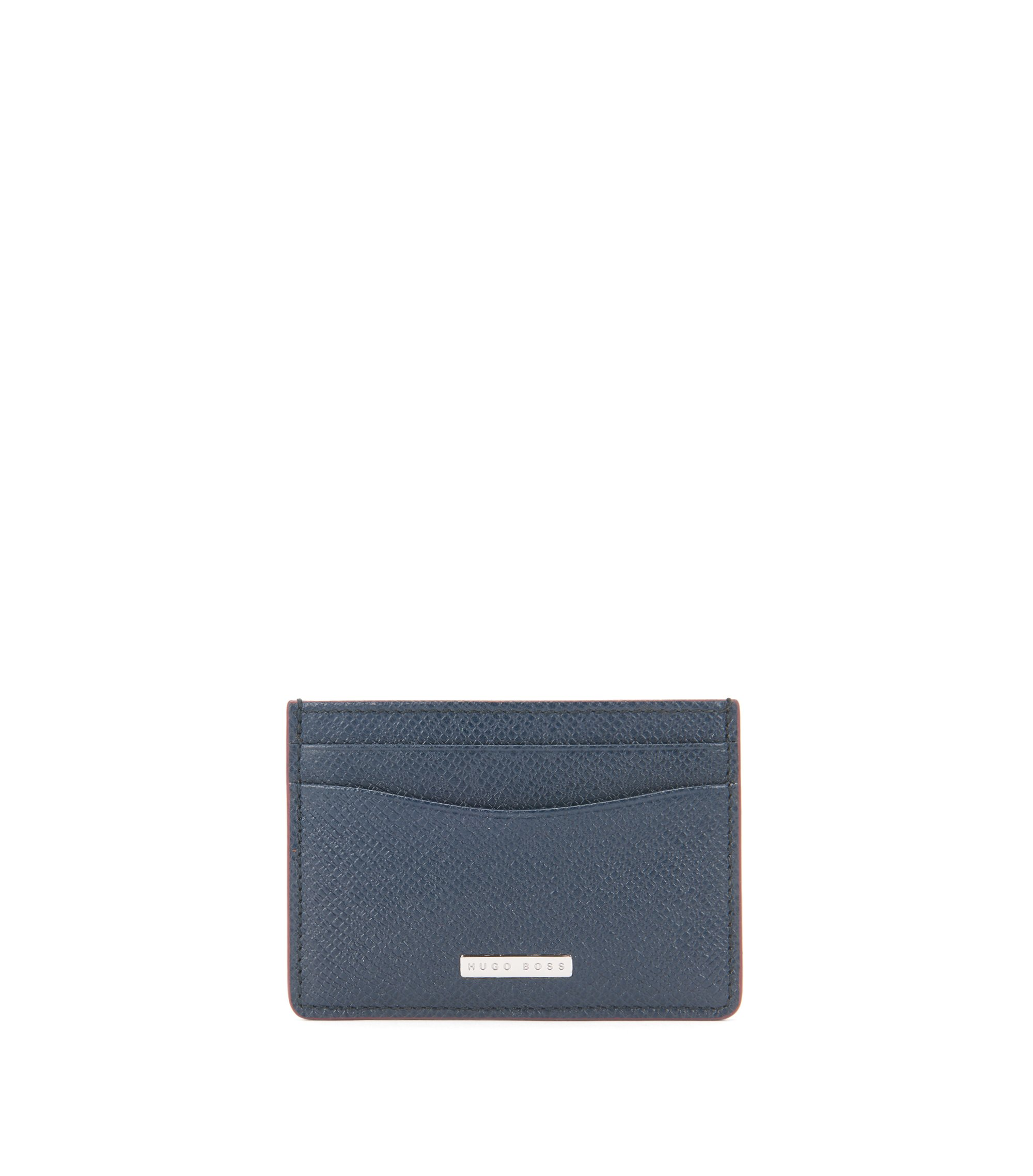 Signature Collection money clip in palmellato leather, Dark Blue