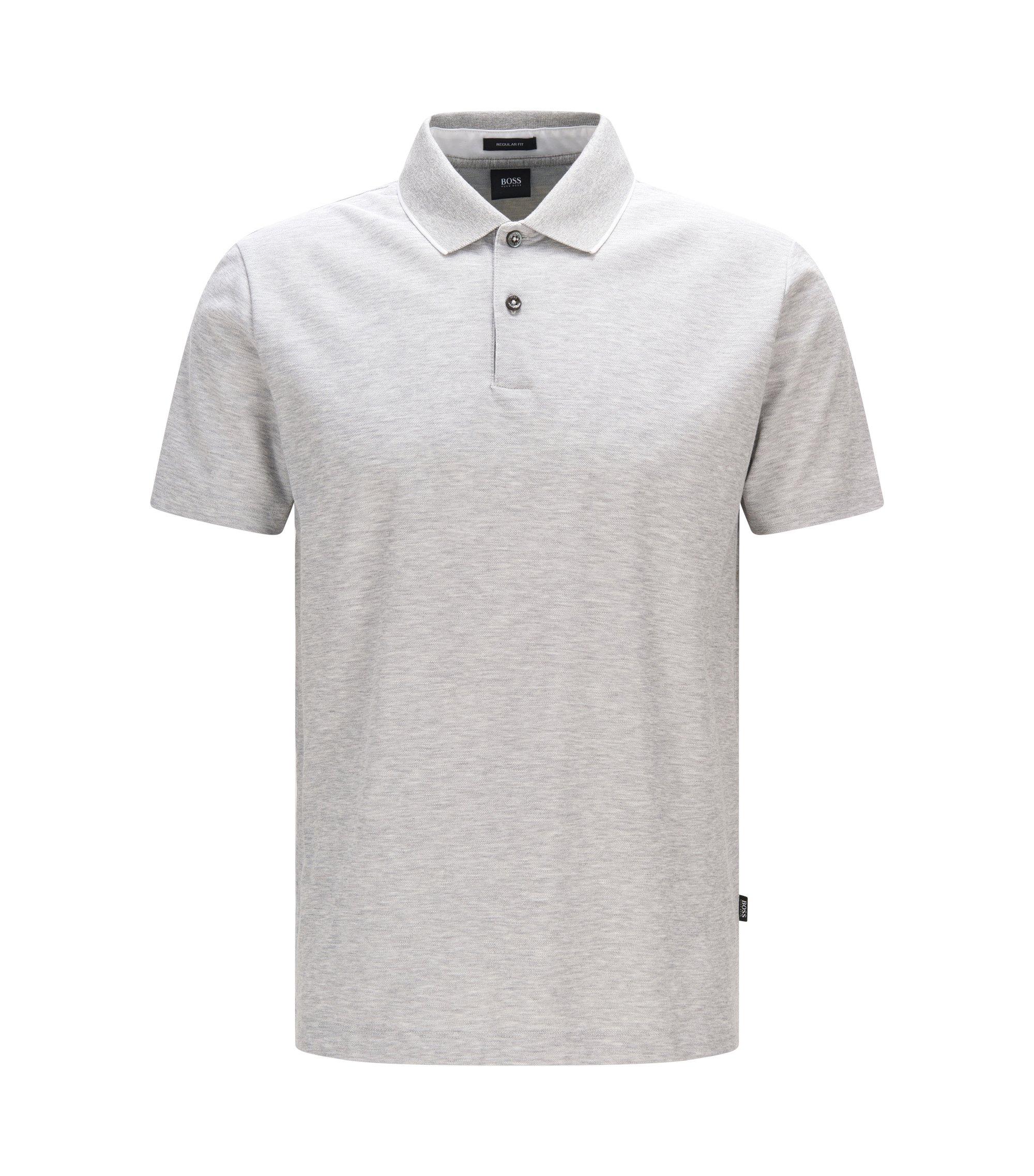 Cotton Polo Shirt, Regular Fit   Piket, Open Grey