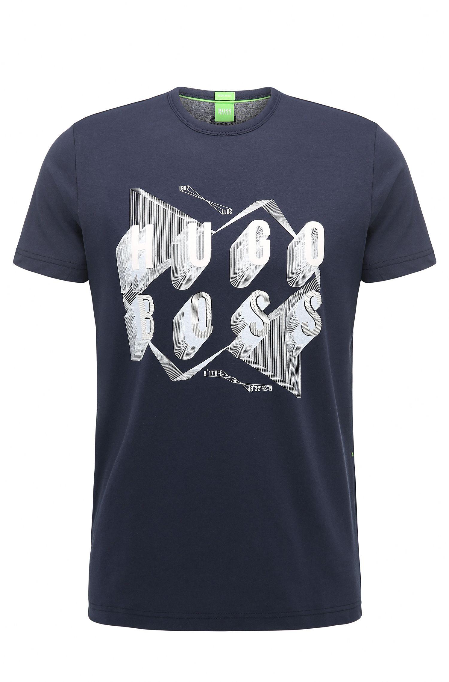 Cotton Graphic T-Shirt | Teeos, Dark Blue