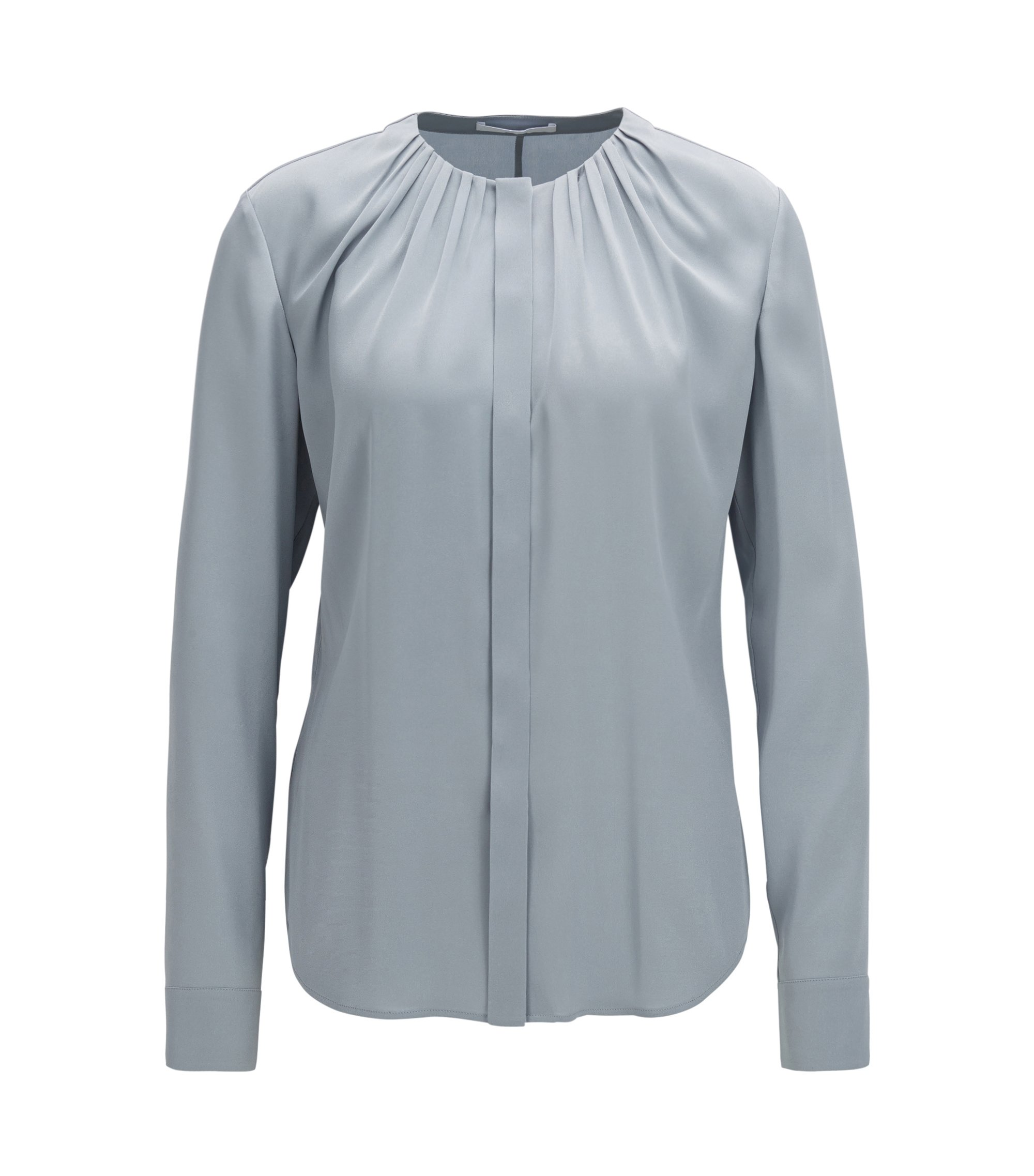 Silk-blend blouse with gathered neckline, Open Grey