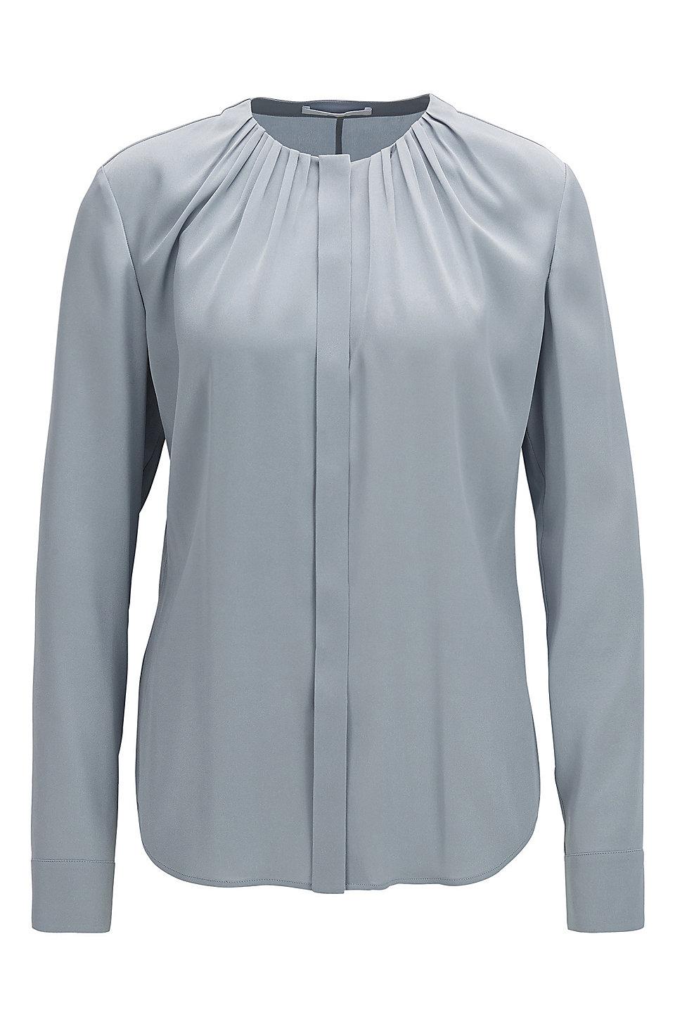 5139f25d9c2b7 BOSS - Silk-blend blouse with gathered neckline