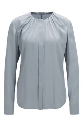 'Banora' | Gathered Silk Blend Blouse, Open Grey