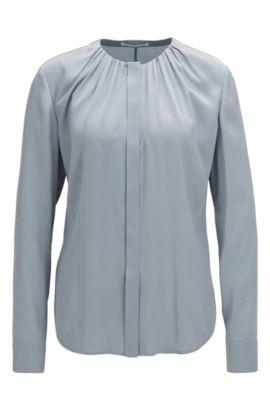 'Banora' | Gathered Silk Blend Blouse, Open Grey
