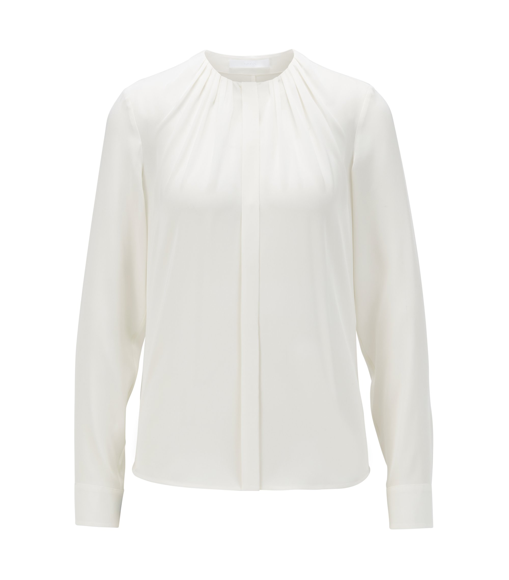 Silk-blend blouse with gathered neckline, Natural